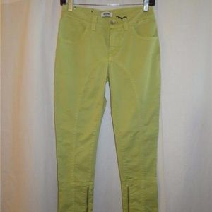 """MOSCHINO JEANS """"DONNA"""" LIME GREEN SKINNY JEANS 26"""